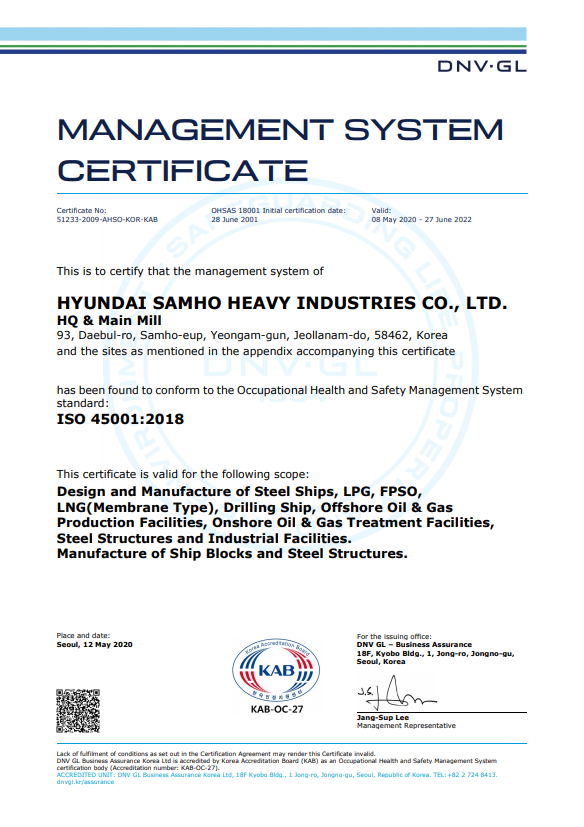 ISO 45001 International Safety and Health Management System