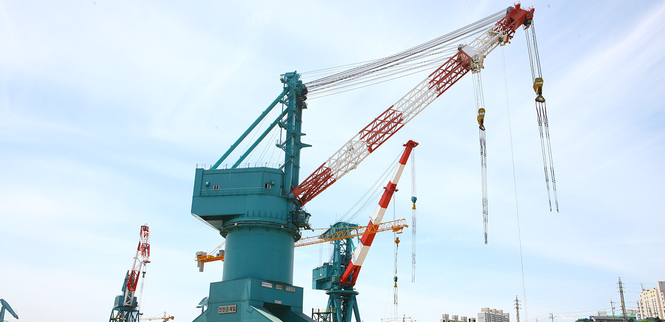 350 ton Level Luffing Jib Crane for HHI